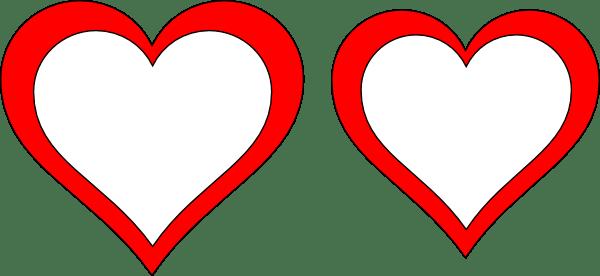 Two Hearts Clip Art at Clker.com - vector clip art online ... (600 x 276 Pixel)