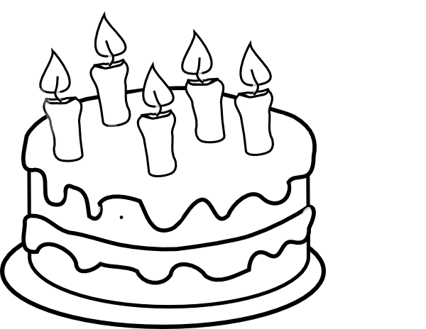 Bday Cake 5 Candles Black And White Clip Art At Clker Com