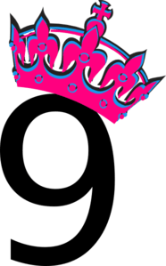 Pink Tilted Tiara And Number 9 Clip Art