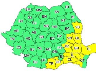 Cod Galben de Ploi torențiale în județul Călărași. FOTO ANM