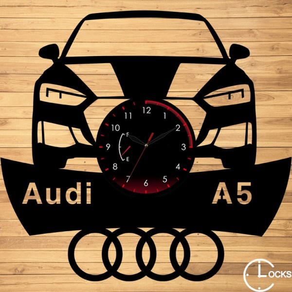 CEAS DE PERETE DIN LEMN NEGRU Audi A5 2018 Clocks Design
