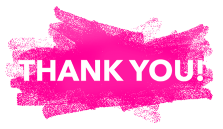 recomendation thank you in white with pink background painted