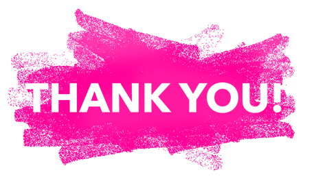 Thank you with a pink, paint brush background
