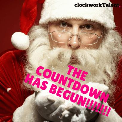 Santa blowing snow - the countdown has begun in pink