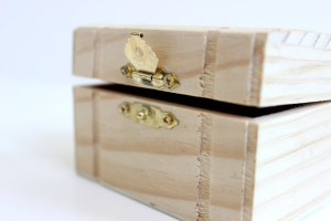 Slightly open Wooden White Box With Metal Lock