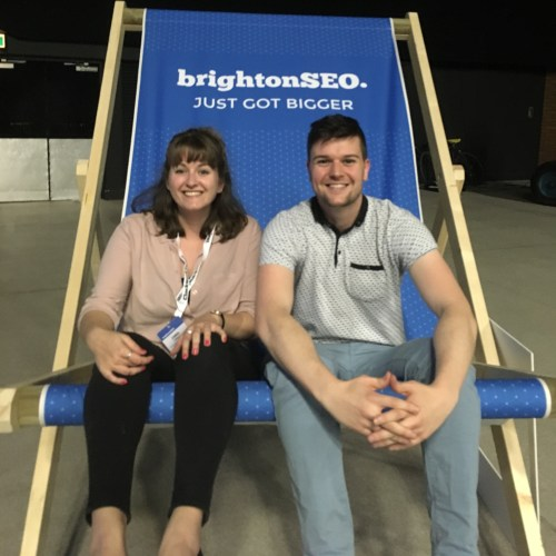 brightonSEO deckchair with emma and cj