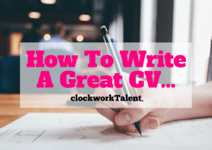 how to write a great cv image of someone writing with tile in pink