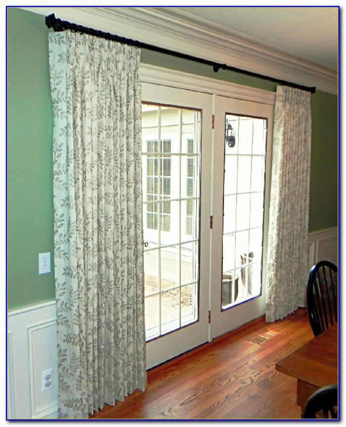 sliding door curtain rod without