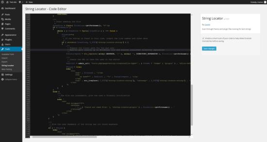 String Locator edit page