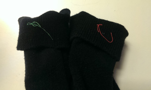 Bad mobile photo of labeled socks