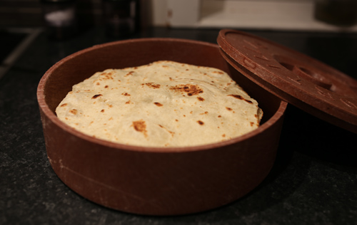 Tortillas in a tortilla warmer