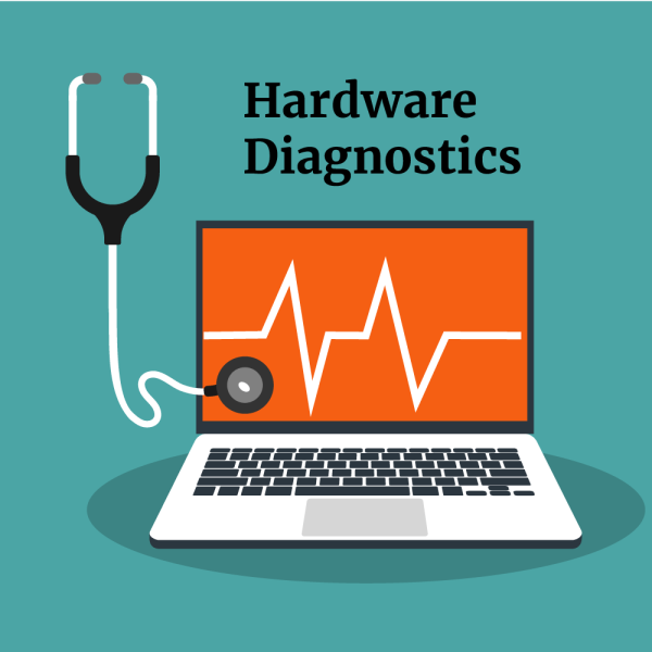 A laptop with an ekg line across it. A stethoscope on the screen. the words hardware diagnostics