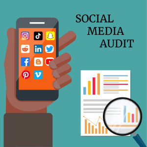 A brown hand holding a phone. A document with graphs under a magnifying glass. the words social media audit