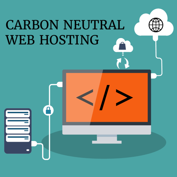 A computer plugged into a cloud and a web server. a padlock in a cloud. the words eco friendly web hosting above