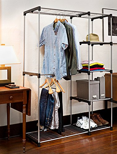 Deluxe Double Rod Closet Organizer Freestanding Wardrobe Rack U2013 Silver