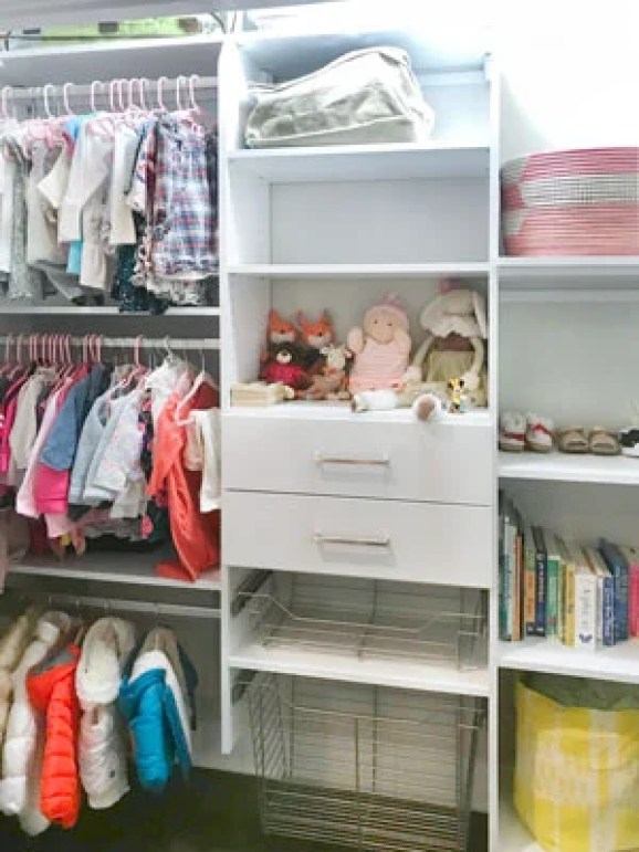 Triple hang the clothes when organizing a kids closet