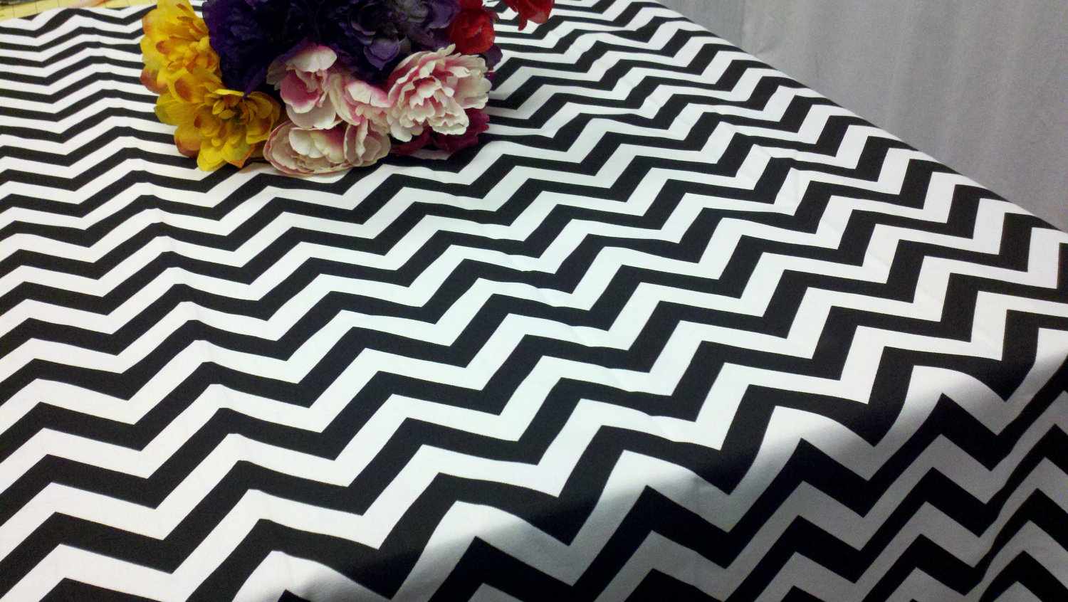 Black And White Chevron Table Linen Rental Tablecloth