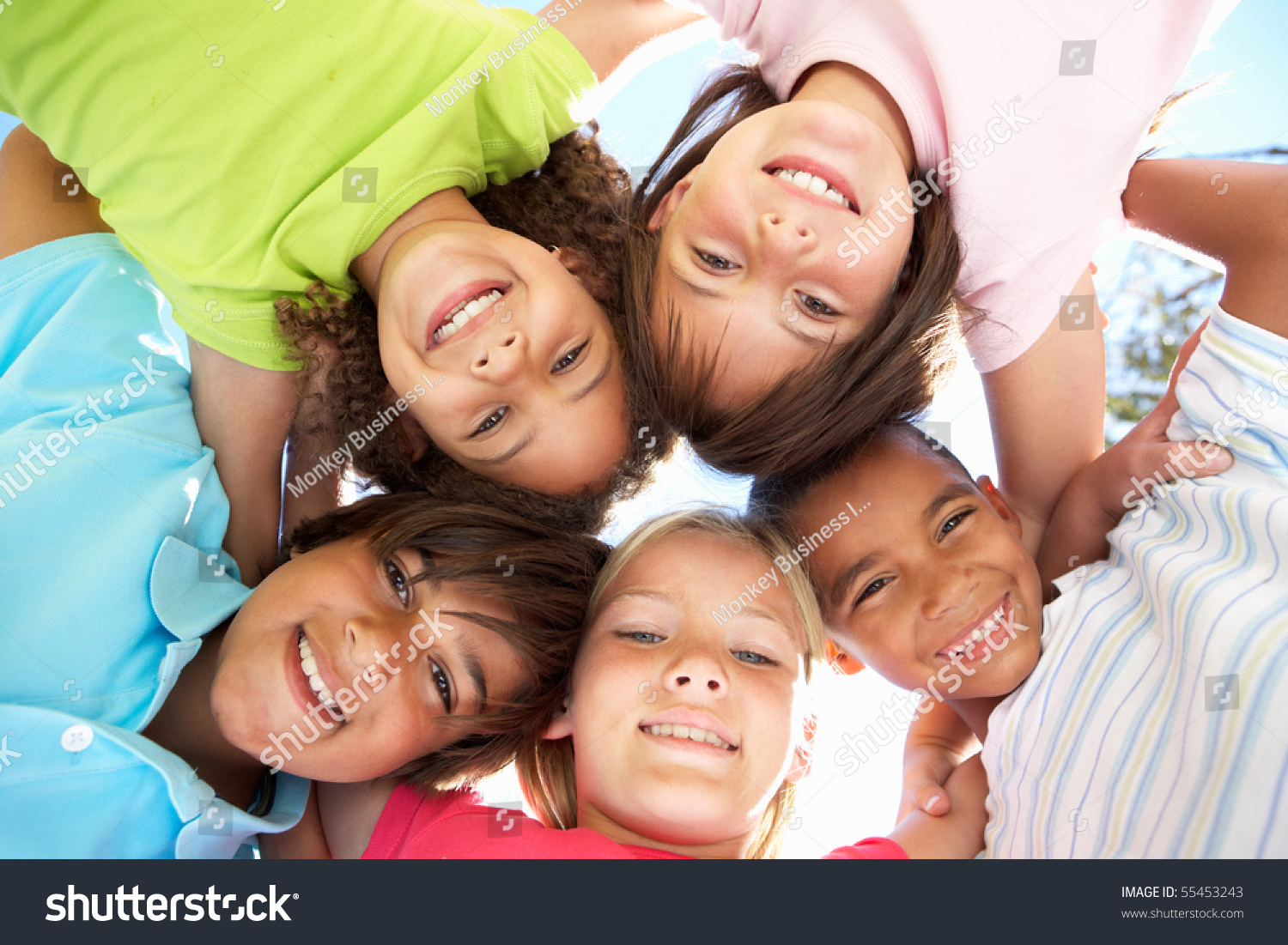 Children Huddled in a Circle