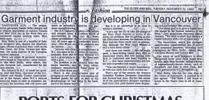 ZONDA NELLIS GLOBE AND MAIL 23 11 1982