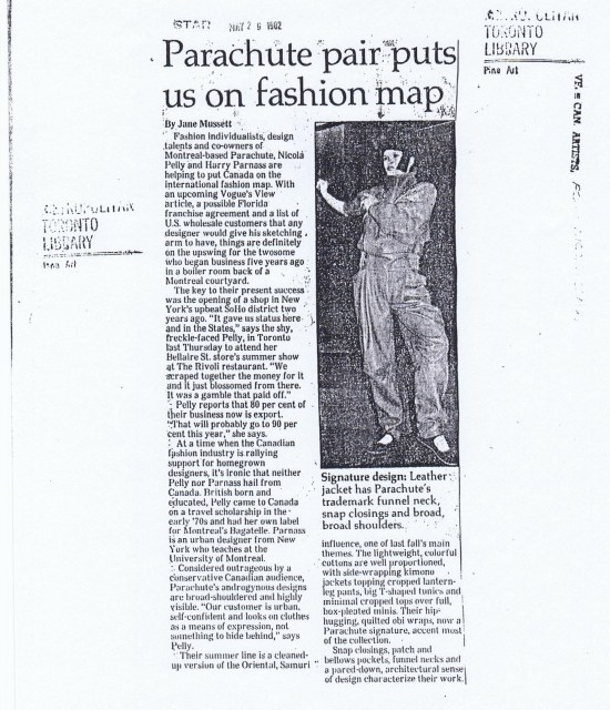 PARACHUTE TORONTO STAR MAY 1982