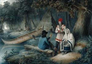 INDIAN WIGWAM IN LOWER CANADA 1848 CORNELIUS KRIEGHOFF
