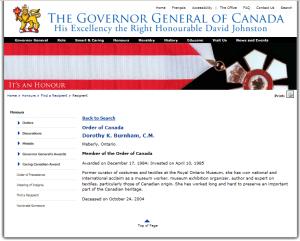 DOROTHY K. BURNHAM ORDER OF CANADA