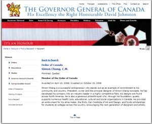 SIMON CHANG ORDER OF CANADA