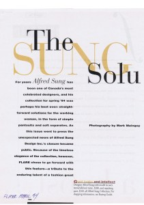 ALFRED SUNG FLARE APRIL 1994