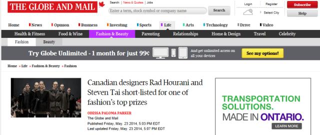 RAD HOURANI STEVEN TAI GLOBE AND MAIL MAY 23, 2014