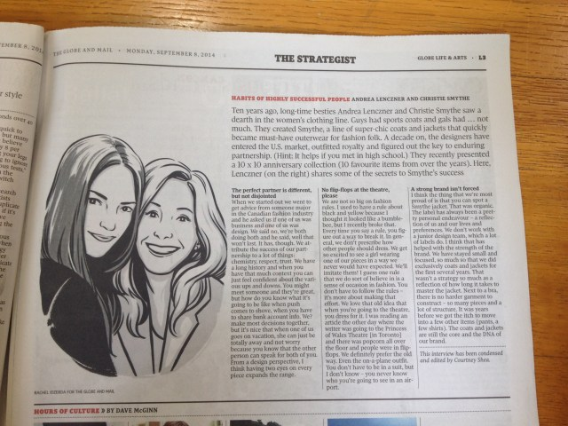 SMYTHE GLOBE AND MAIL SEPTEMBER 08, 2014