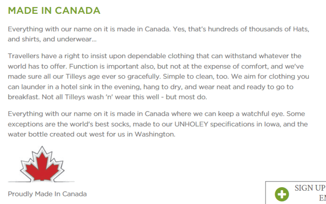 TILLEY'S MADE IN CANADA FROM THE WEBSITE