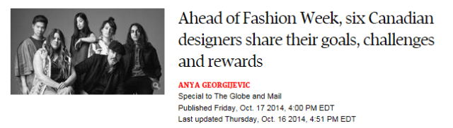 SIX DESIGNERS 1 GLOBE AND MAIL