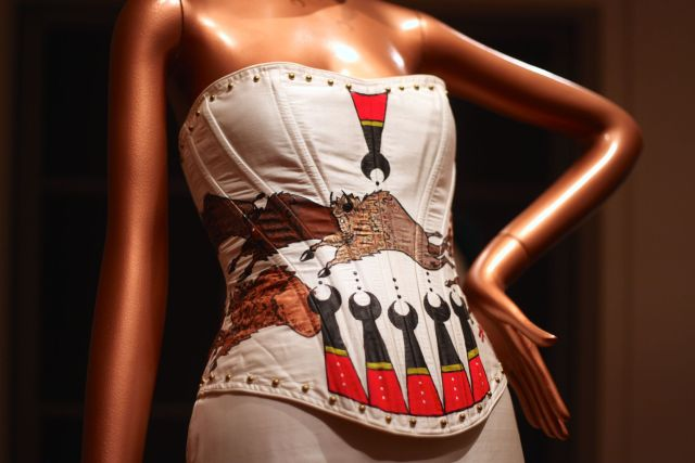 "A hand-painted buffalo corset from Dallin Maybee and Laura Shepherd in ""Native Fashion Now."" Photo: Chavie Lieber/Racked"