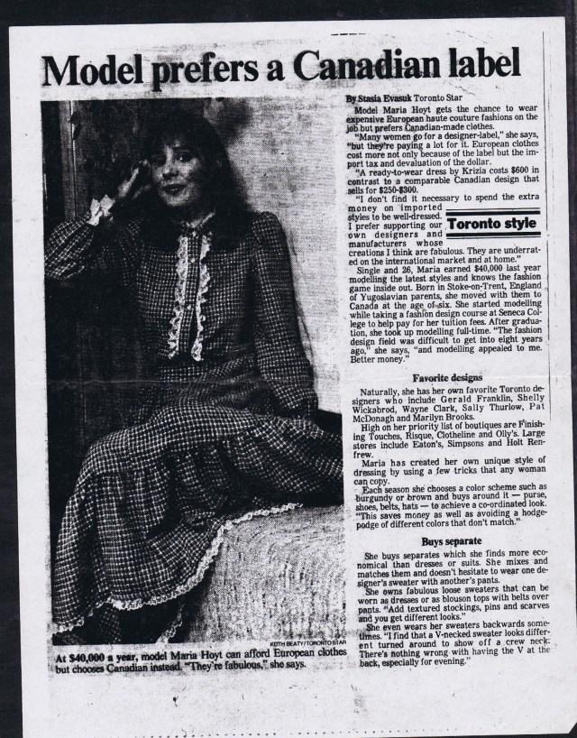 TORONTO STAR STASIA EVASUK ca 1980