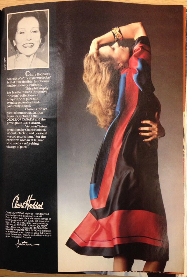 1983 FALL FASHION TOD 8 CLAIRE HADDAD