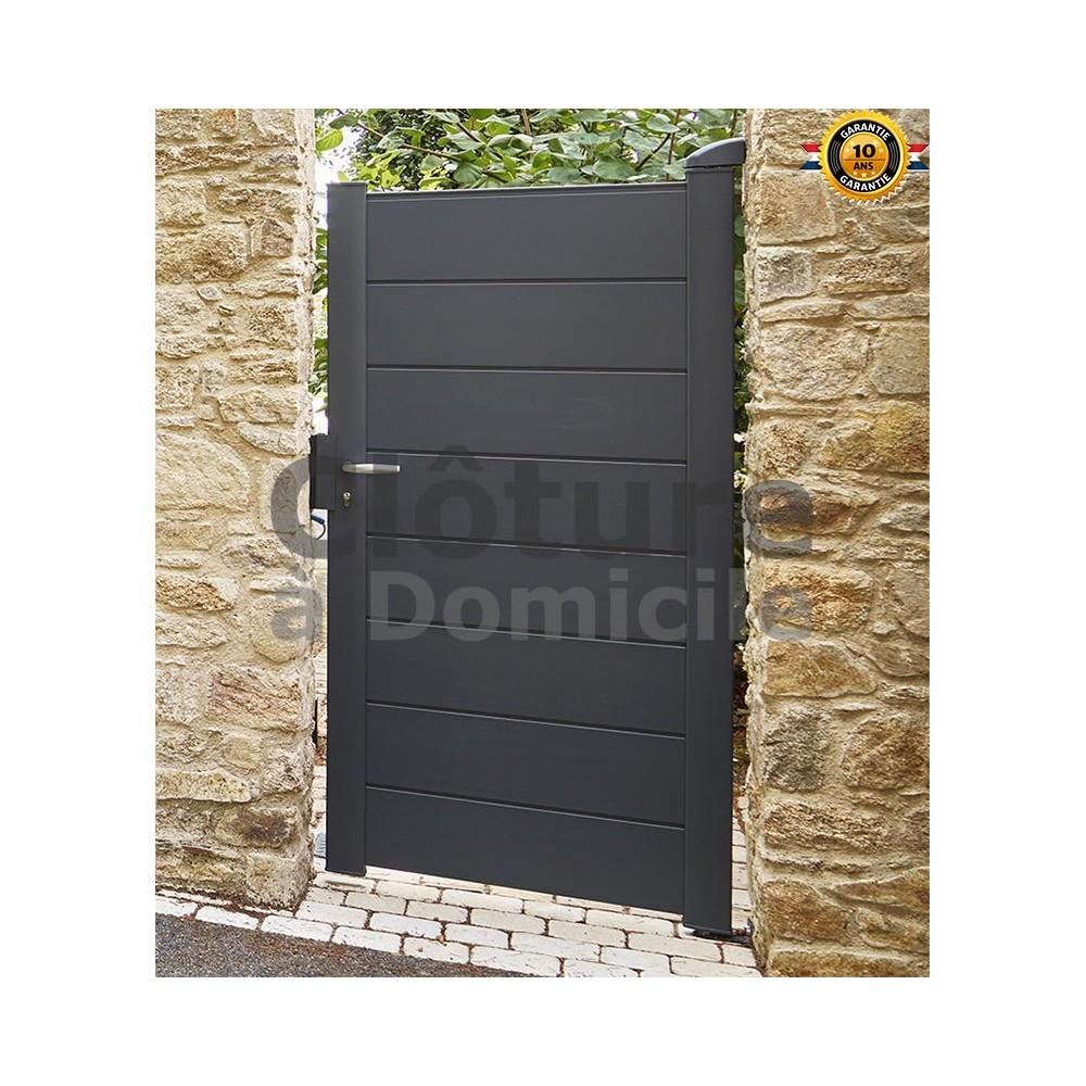 portillon alu aluclos aluline 1 battant couleur gris ral 7016 portail aluclos hauteur remplissage h 1 68 m lame semi ajouree option