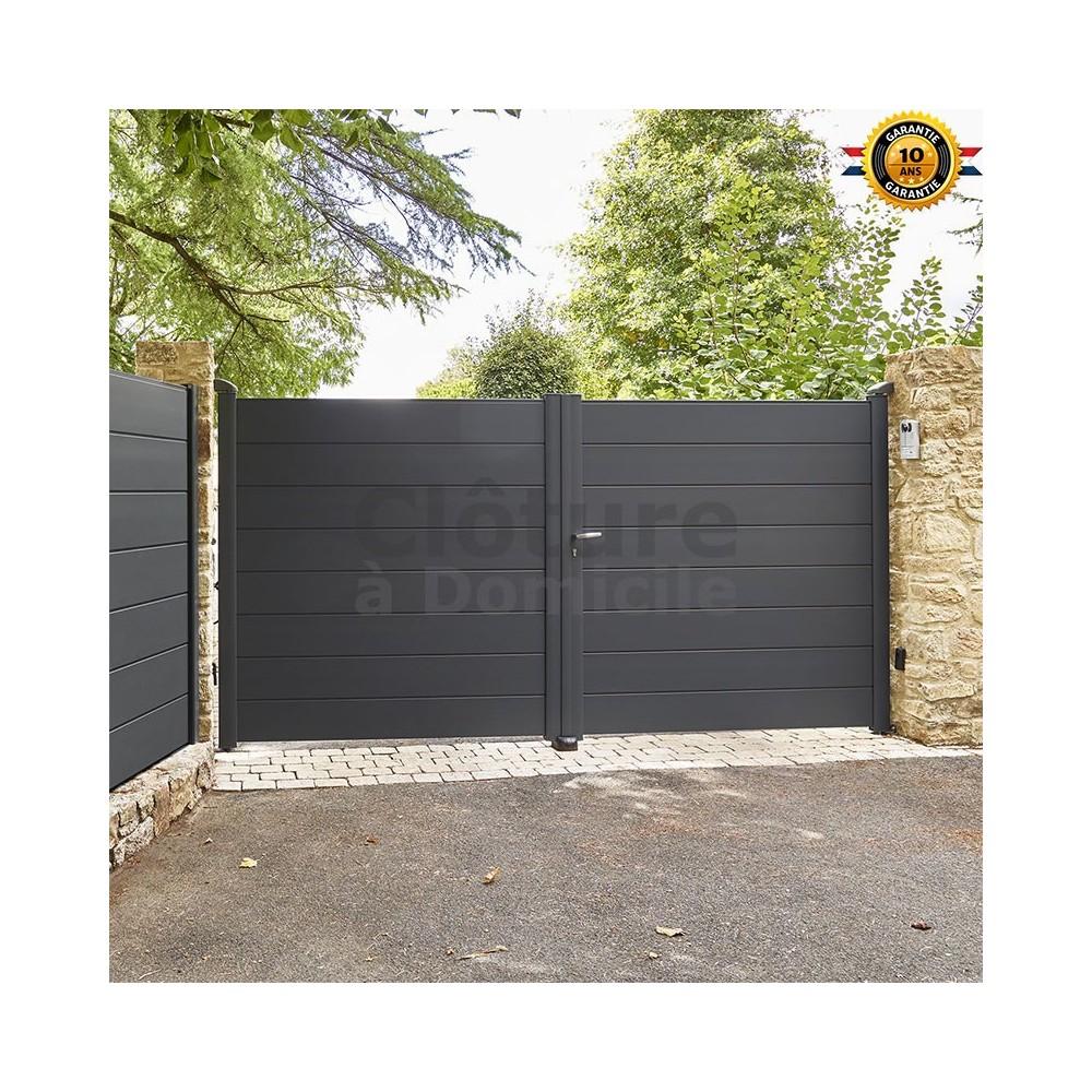 portail battant en aluminium par aluclos couleur gris ral 7016 longueur 3 00 m portail aluclos hauteur remplissage h 1 68 m lame semi