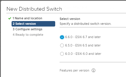 New Distributed switch - version