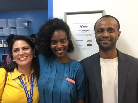 Cloud77 CEO Adrian Harper poses with B-STEM founder Tracie Ponder and a volunteer from IKEA.