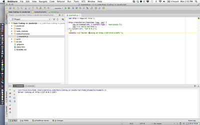 Webstorm, Node.js App Running, w/ OS-X Bar (Click for full size image)