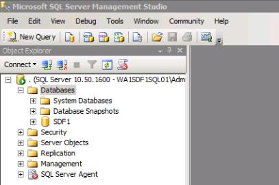 Using SQL Server Management Studio checking that the SQL Server Exists