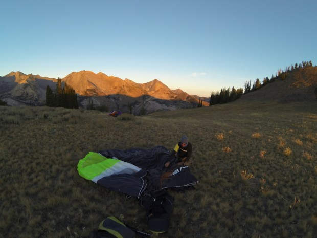 Packing up, about 20 seconds from the cabin with the Pio's in the distance