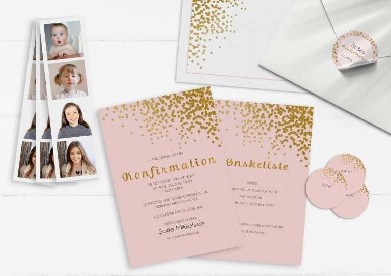 Konfirmation invitation pige guld og lyserød