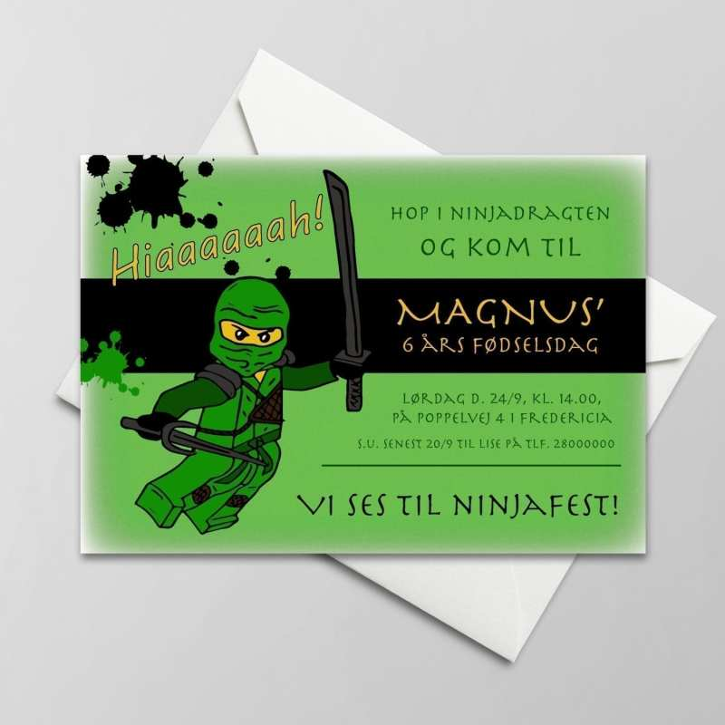Fødselsdagsinvitation. Dreng. Ninjago. Lego. Grøn