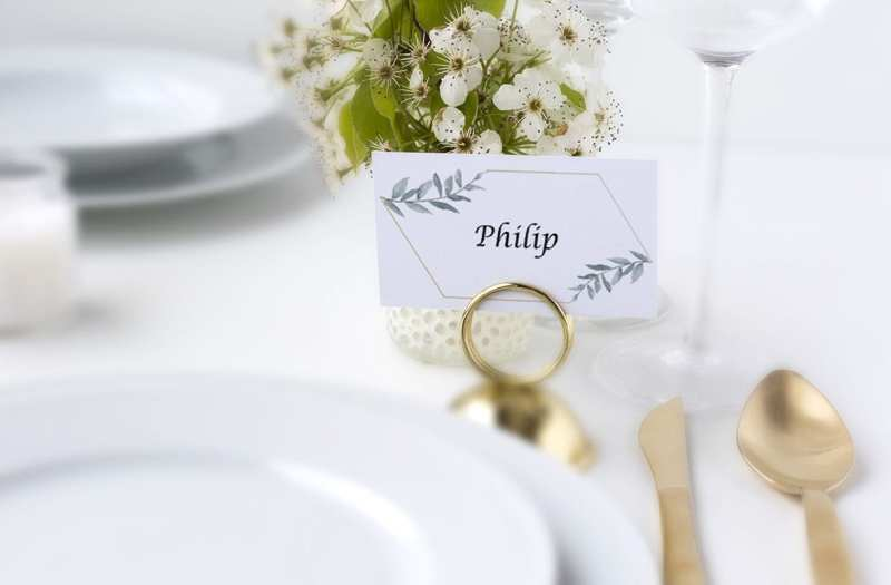 bordkort simple branch bryllup