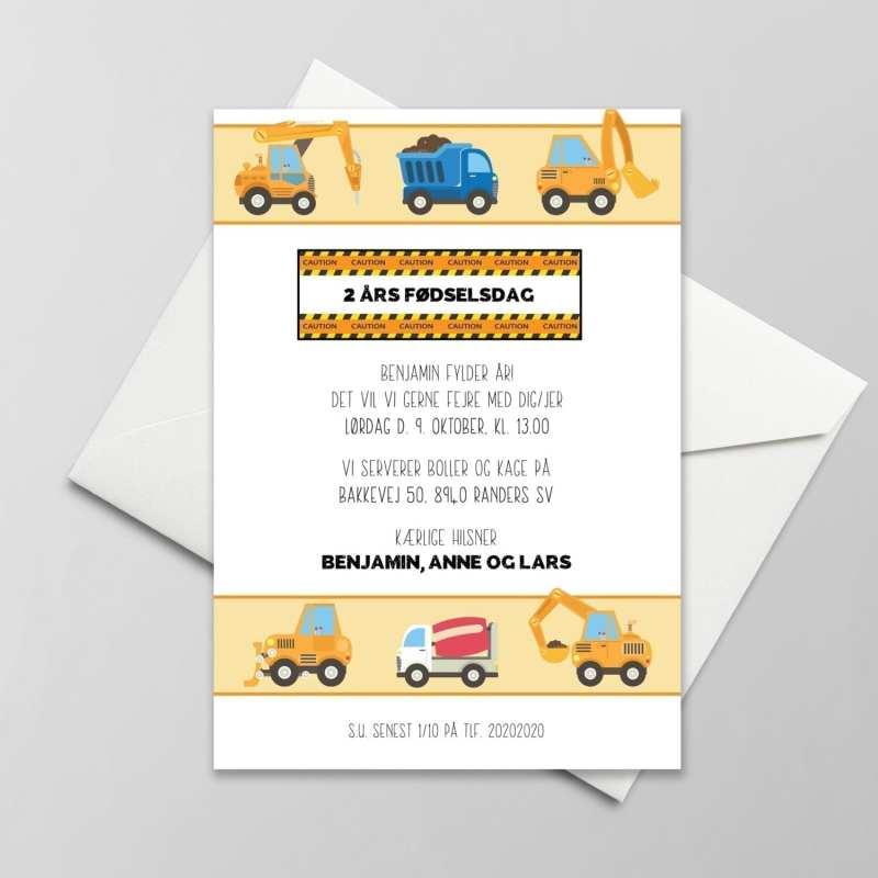 byggeplads invitation traktor gravko