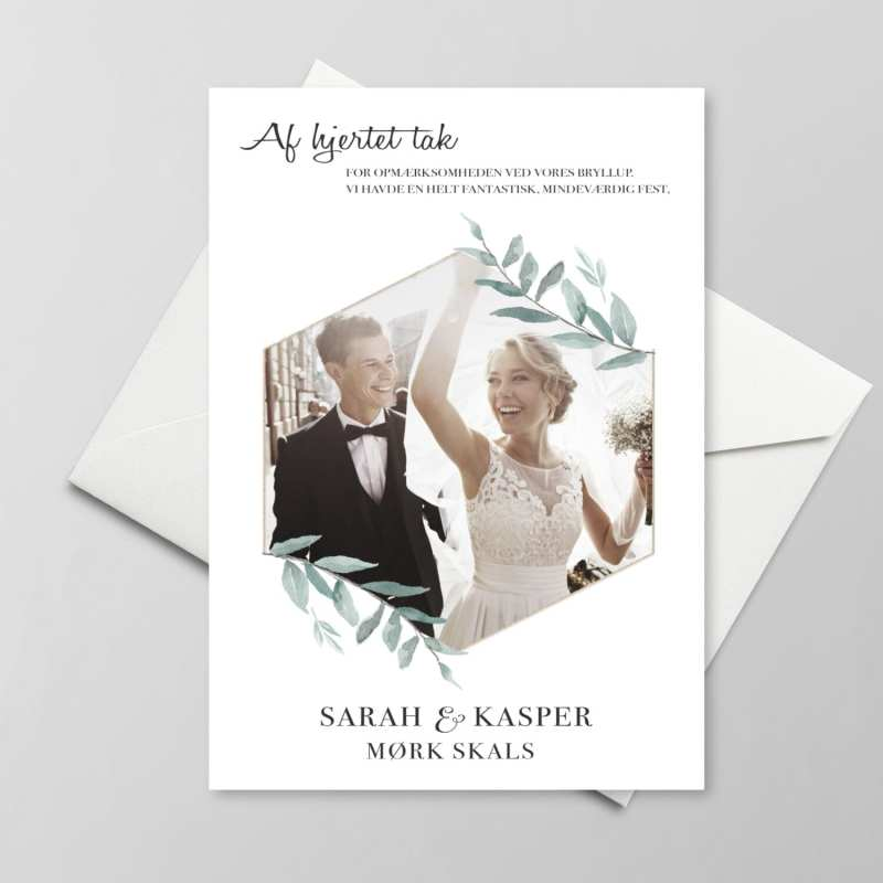Simple branch takkekort bryllup