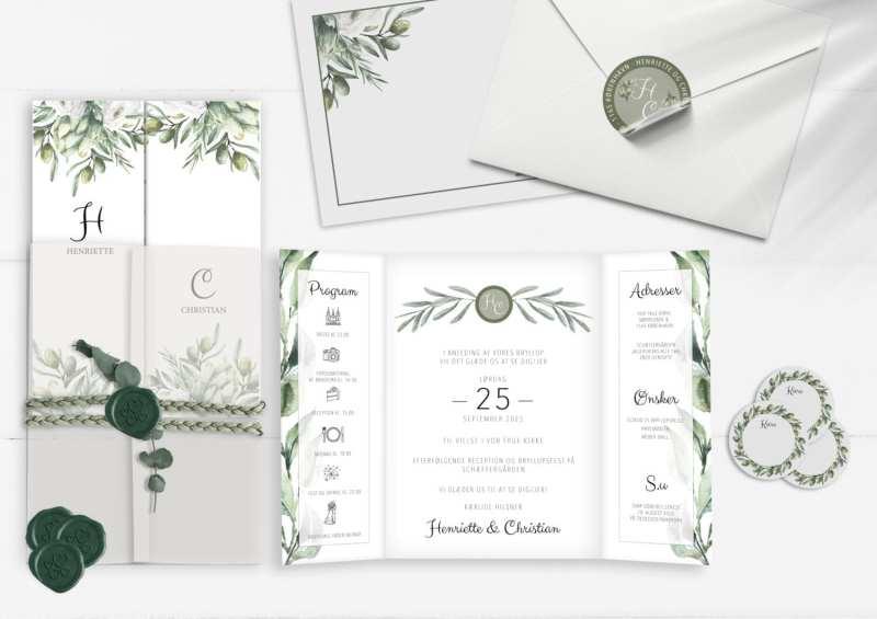 olive garden, indbydelse til bryllup, kuverter, stickers, manillamærker, laksegl, kalkeromslag
