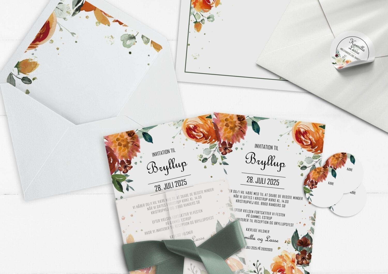 invitation A5 golden bouquet orange rød og grøn watercolor