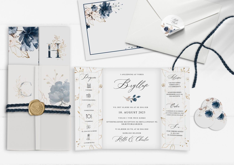 navy bloom, blå invitation til bryllup, portefals
